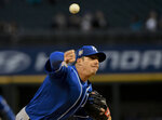Kansas City Royals starting pitcher Heath Fillmyer delivers during the first inning of a baseball game against the Chicago White Sox, Monday, April 15, 2019, in Chicago. (AP Photo/Matt Marton)