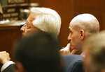 Michael Gargiulo, right, listens along with his attorney Daniel Nardoni, left, as the death penalty sentence is announced during his trial in Los Angeles Superior Court for the killings of two women and the attempted murder of a third, on Friday, Oct. 18, 2019. (Mario Tama/Pool Photo via AP)