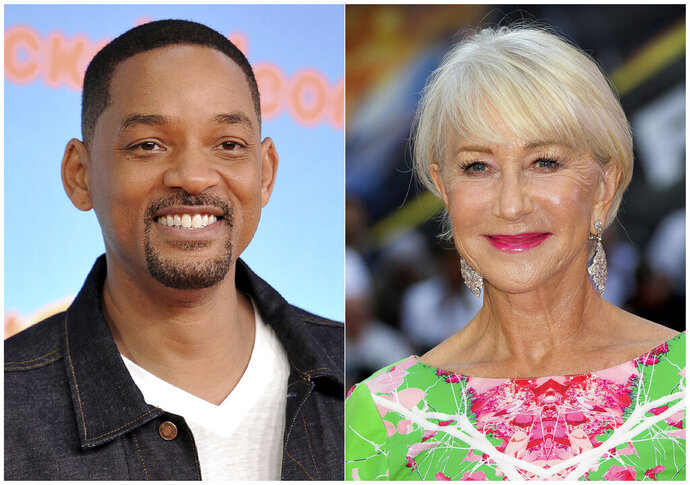 This combination photo shows Will Smith at the Nickelodeon Kids' Choice Awards in Los Angeles on March 23, 2019, left, and Helen Mirren at a special screening of