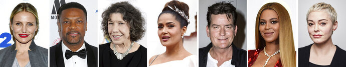 In this combination photo of celebrities with birthdays from Aug. 30-Sept. 5, Cameron Diaz, from left, arrives for her 92Y In Conversation with Rachael Ray on April 5, 2016, in New York, Chris Tucker arrives at the EBONY Power 100 Gala on Nov. 30, 2018, in Beverly Hills, Calif., Lily Tomlin arrives at the 17th Annual Women's Image Awards on Feb. 10, 2016, in Los Angeles, Salma Hayek arrives at the Oscars on Feb. 9, 2020, in Los Angeles., Charlie Sheen, ambassador of the condom brand Lelo Hex, poses for photographers after a press conference to celebrate the launch on June 16, 2016, in London, Beyonce poses in the press room at the 59th annual Grammy Awards on Feb. 12, 2017, in Los Angeles and Rose McGowan poses for a portrait on Jan. 3, 2020, in New York. (AP Photo)