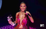 In this video grab issued Sunday, Aug. 30, 2020, by MTV, Doja Cat accepts the best new artist award during the MTV Video Music Awards. (MTV via AP)