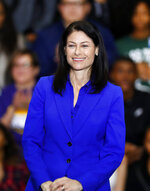 FILE - In this Friday, Oct. 26, 2018 file photo, Dana Nessel, Democratic candidate for attorney general, appears during a rally in Detroit. Michigan attorney general-elect Nessel vowed not to defend state laws she considers unconstitutional and pledged to sue the Trump administration