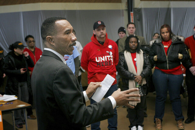 FILE - In this March 1, 2008 file photo, former Rep. Kweisi Mfume talks to volunteers as they prepare to canvas Cincinnati neighborhoods for Democratic presidential hopeful Sen. Barack Obama, D-Ill., in Cincinnati. As the former NAACP leader seeks to regain a congressional seat he once held, The Baltimore Sun reports that records show he left the civil rights organization amid concerns about sexual harassment and other issues. (AP Photo/Tom Uhlman, File)