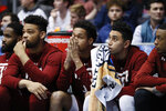 The Temple bench reacts during the second half of a First Four game of the NCAA college basketball tournament against Belmont, Tuesday, March 19, 2019, in Dayton, Ohio. (AP Photo/John Minchillo)