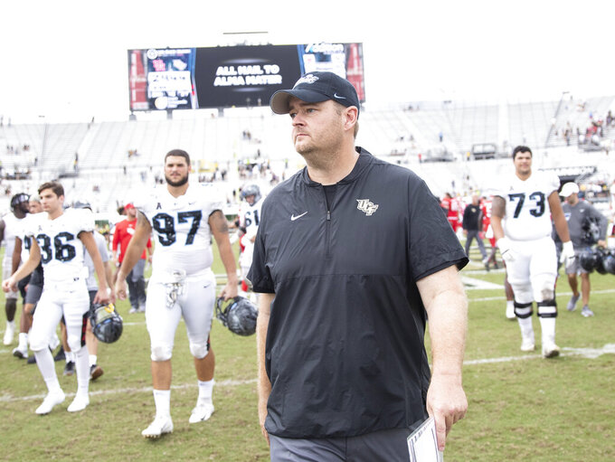 Central Florida head coach Josh Heupel walks off the field with a 44-29 victory over Houston in an NCAA college football game in Orlando, Fla., Saturday, Nov. 2, 2019. (Photo/Willie J. Allen Jr.)