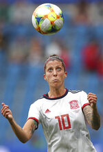 Spain's Jennifer Hermoso eyes the ball during the Women's World Cup Group B soccer match between China and Spain at the Stade Oceane in Le Havre, France, Monday, June 17, 2019. (AP Photo/Francisco Seco)