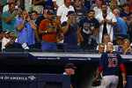Fans yell at Boston Red Sox pitcher David Price (10) as heads for the dugout during the third inning of a baseball game against the New York Yankees on Sunday, Aug. 4, 2019, in New York. (AP Photo/Adam Hunger)