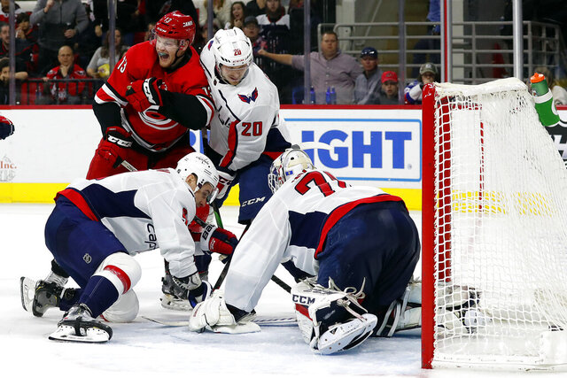 Carolina Hurricanes' Warren Foegele (13) reacts after finding the puck and getting it past Washington Capitals goaltender Braden Holtby (70), of Switzerland, for a goal during the second period of an NHL hockey game in Raleigh, N.C., Saturday, Dec. 28, 2019. (AP Photo/Karl B DeBlaker)