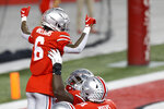Ohio State receiver Jameson Williams celebrates his touchdown against Rutgers during the first half of an NCAA college football game Saturday, Nov. 7, 2020, in Columbus, Ohio. (AP Photo/Jay LaPrete)