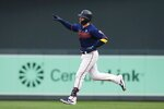 Minnesota Twins' catcher Mitch Garver rounds the bases on a solo home run off Cleveland Indians pitcher Aaron Civale in the first inning of a baseball game Saturday, Sept 7, 2019, in Minneapolis. (AP Photo/Jim Mone)