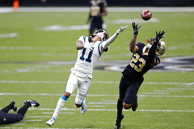 in the second half of an NFL football game in New Orleans, Sunday, Oct. 25, 2020. (AP Photo/Brett Duke)