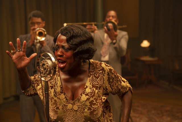 This image released by Netflix shows Chadwick Boseman, from left, Viola Davis and Colman Domingo in