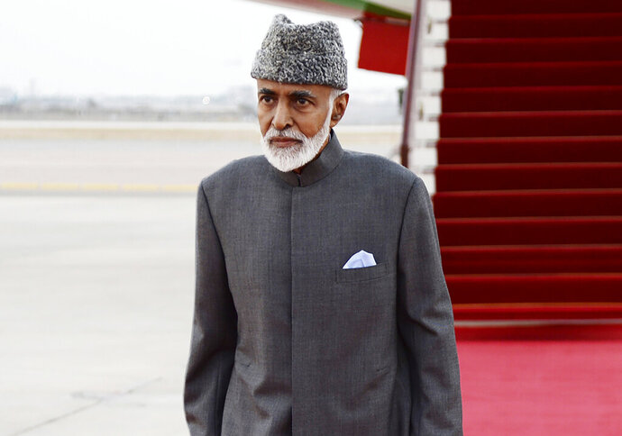 "FILE - In this photo made available by Oman News Agency, on March 23, 2015, Sultan Qaboos bin Said of Oman arrives in Muscat. Oman's 79-year-old ruler will travel to Belgium for a medical checkup, the sultanate's state-run news agency reported Saturday, Dec. 7, 2019. Sultan Qaboos bin Said left ""for some medical checks that will take a limited period, God willing,"" the Oman News Agency reported, citing a royal court statement. He has taken medical trips abroad in the past.   (AP Photo/ Oman News Agency) ."