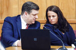 Defense attorneys Chad Frese and Jennifer Freseconfer during a hearing for their client Cristhian Bahena Rivera at the Poweshiek County Courthouse in Montezuma, Iowa, on Thursday, July 15, 2021. Bahena Rivera was convicted of killing University of Iowa student Mollie Tibbetts in 2018. A judge delayed Bahena Rivera's sentencing after defense attorneys asserted authorities withheld information about investigations into a nearby sex trafficking ring the lawyers say could have been involved in the fatal stabbing. (Jim Slosiarek/The Gazette, Pool)