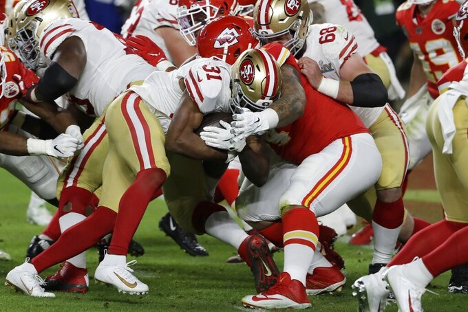 San Francisco 49ers' Raheem Mostert (31) runs for a touchdown against the Kansas City Chiefs during the second half of the NFL Super Bowl 54 football game Sunday, Feb. 2, 2020, in Miami Gardens, Fla. (AP Photo/Seth Wenig)