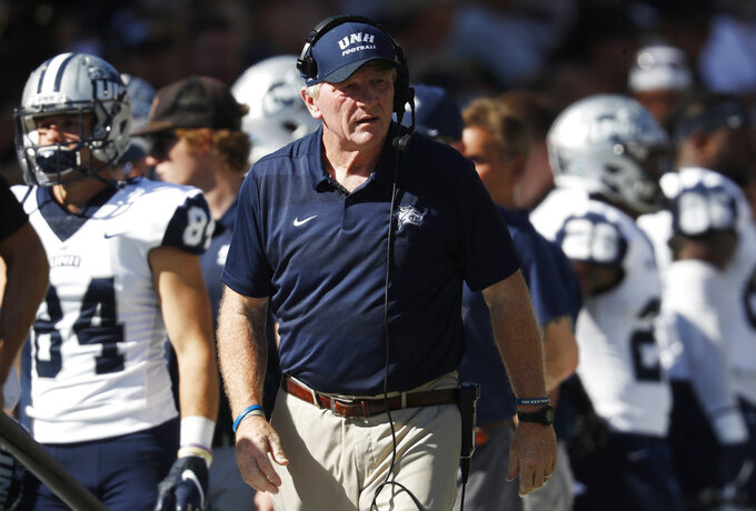 New Hampshire head coach Sean McDonnell looks on in the first half of an NCAA college football game against Colorado, Saturday, Sept. 15, 2018, in Boulder, Colo. (AP Photo/David Zalubowski)