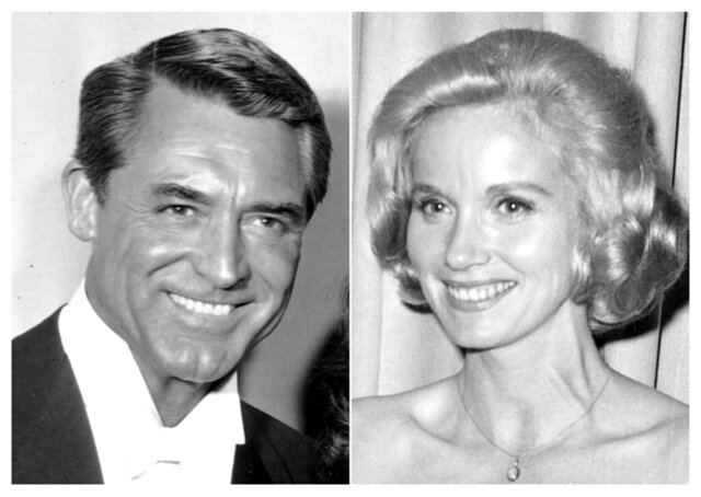 This combination photo shows Cary Grant at the 30th Academy Awards ceremony on March 26, 1958, left, and Eva Marie Saint at the Academy Awards on April 17, 1961. Grant and Saint star in the Hitchcock thriller