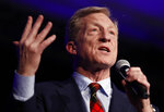 Democratic presidential candidate businessman Tom Steyer speaks at the Clark County Democratic Party