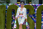 The Moschino collection is modeled during New York Fashion Week, Thursday, Sept. 9, 2021. (AP Photo/Mary Altaffer)