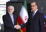 In this photo released by the Atomic Energy Organization of Iran, the head of the organization Ali Akbar Salehi, left, shakes hands with Acting Director General of the International Atomic Energy Agency, IAEA, Cornel Feruta during their meeting in Tehran, Iran, Sunday, Sept. 8, 2019. Salehi said the European Union has failed to honor its commitments under Tehran's nuclear deal with world powers, following the U.S. withdrawal from the 2015 accord over a year ago. (Atomic Energy Organization of Iran via AP)
