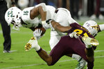 Sacramento State tight end Marshel Martin (16) is tackled by Arizona State linebacker Tyler Whiley during the first half of an NCAA college football game Friday, Sept. 6, 2019, in Tempe, Ariz. (AP Photo/Matt York)