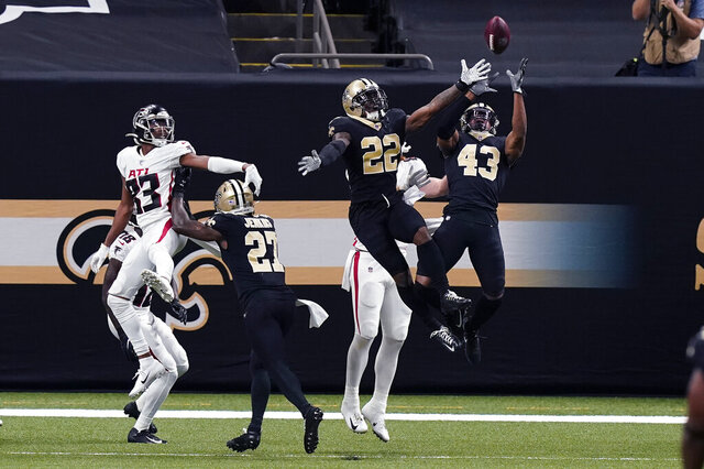 New Orleans Saints free safety Marcus Williams (43) intercepts a pass by Atlanta Falcons quarterback Matt Ryan in the first half of an NFL football game in New Orleans, Sunday, Nov. 22, 2020. (AP Photo/Butch Dill)