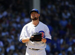Chicago Cubs starting pitcher Jon Lester reacts as he looks up during the fourth inning of a baseball game against the Philadelphia Phillies, Thursday, May 23, 2019, in Chicago. (AP Photo/Nam Y. Huh)