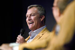John Lynch answers a question as members of the Pro Football Hall of Fame Class of 2021, participated in an enshrinees' roundtable in Canton, Ohio, Sunday, Aug. 8, 2021. (AP Photo/Gene J. Puskar)