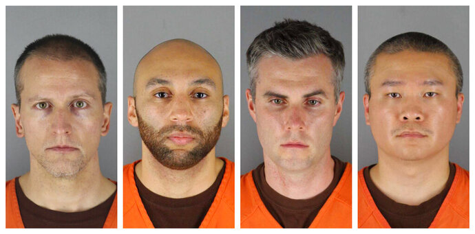 FILE - This combination of June 3, 2020, file photos, provided by the Hennepin County, Minn.m, Sheriff's Office, shows, from left, Derek Chauvin, J. Alexander Kueng, Thomas Lane and Tou Thao. A Minnesota judge on Wednesday, Oct. 21, 2020, has dismissed a third-degree murder charge filed against Chauvin, the former Minneapolis police officer who pressed his knee against George Floyd's neck, but the more serious second-degree murder charge remains. The judge also denied defense requests to dismiss the aiding and abetting counts against the three other former officers, Lane, Kueng and Thao. (Hennepin County Sheriff's Office via AP)