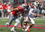 FILE - In this Sept. 1, 2018, file photo, Ohio State defensive lineman Nick Bosa plays against Oregon State during an NCAA college football game, in Columbus, Ohio. Bosa is a possible pick in the 2019 NFL Draft.  (AP Photo/Jay LaPrete, File)