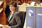 European Commissioner designate for Internal Market Sylvie Goulard answers questions during her hearing at the European Parliament in Brussels, Thursday, Oct 10, 2019. (AP Photo/Olivier Matthys)