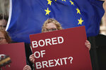 An anti-Brexit campaigner holds a sign in front of an EU flag during a protest outside EU headquarters in Brussels, Wednesday, April 10, 2019. European Union leaders meet Wednesday in Brussels for an emergency summit to discuss a new Brexit extension. (AP Photo/Francisco Seco)