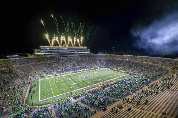 Fireworks explode over Notre Dame Stadium before an NCAA college football game between Notre Dame and Clemson on Saturday, Nov. 7, 2020, in South Bend, Ind. (Matt Cashore/Pool Photo via AP)