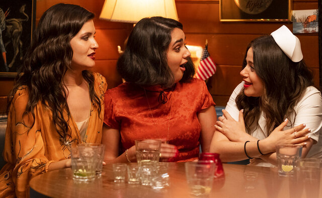 This image released by Sony -TriStar Pictures shows Phillipa Soo, from left, Geraldine Viswanathan and Molly Gordon in a scene from