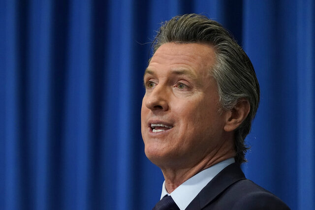 FILE - In this Jan. 8, 2021 file photo, California Gov. Gavin Newsom outlines his 2021-2022 state budget proposal during a news conference in Sacramento, Calif. Newsom sent president-elect Joe Biden a letter on Tuesday, Jan. 19, 2021, outlining shared priorities and areas where the state can work together with the new Democratic administration. (AP Photo/Rich Pedroncelli, Pool, File)
