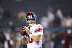New York Giants' Eli Manning warms up before an NFL football game against the Philadelphia Eagles, Monday, Dec. 9, 2019, in Philadelphia. (AP Photo/Matt Rourke)