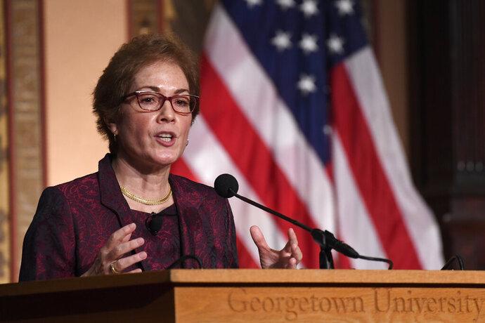 Former Ambassador to Ukraine Marie Yovanovitch speaks at Georgetown University in Washington, Wednesday, Feb. 12, 2020. She was awarded the 2020 J. Raymond