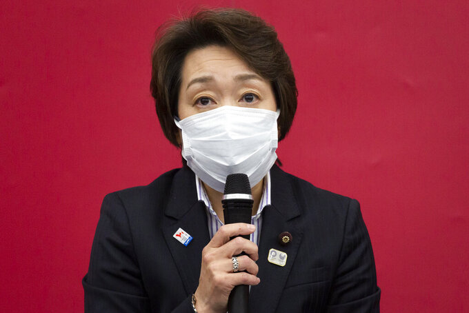 Seiko Hashimoto, president of the Tokyo 2020 Olympics Organizing Committee, speaks during a press conference following the Tokyo 2020 Executive Board meeting in Tokyo Thursday, Feb. 18, 2021. (Yuichi Yamazaki/Pool Photo via AP)