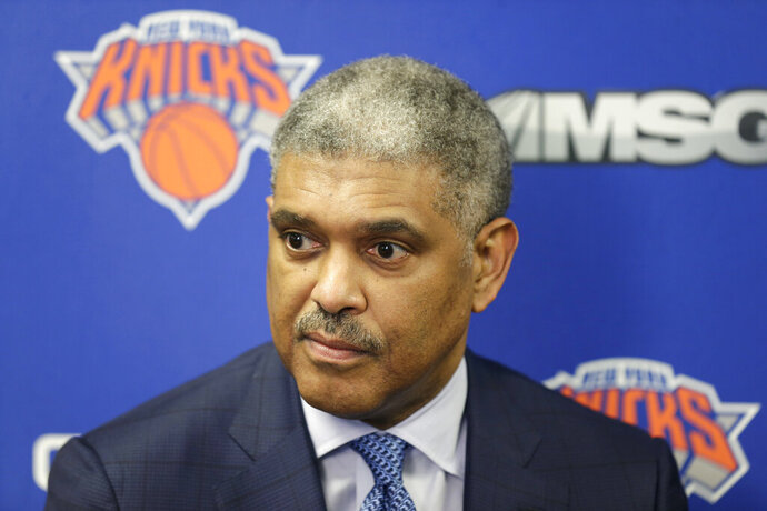 FILE - In this April 12, 2018, file photo, New York Knicks' president Steve Mills speaks to reporters at an NBA basketball news conference in Tarrytown, N.Y. The Knicks fired Mills on Tuesday, Feb. 4, 2020, a person with knowledge of the decision told The Associated Press. Perry will take over control of the basketball operations, according to the person, who spoke to the AP on condition of anonymity because no announcement had been made. (AP Photo/Seth Wenig, File)
