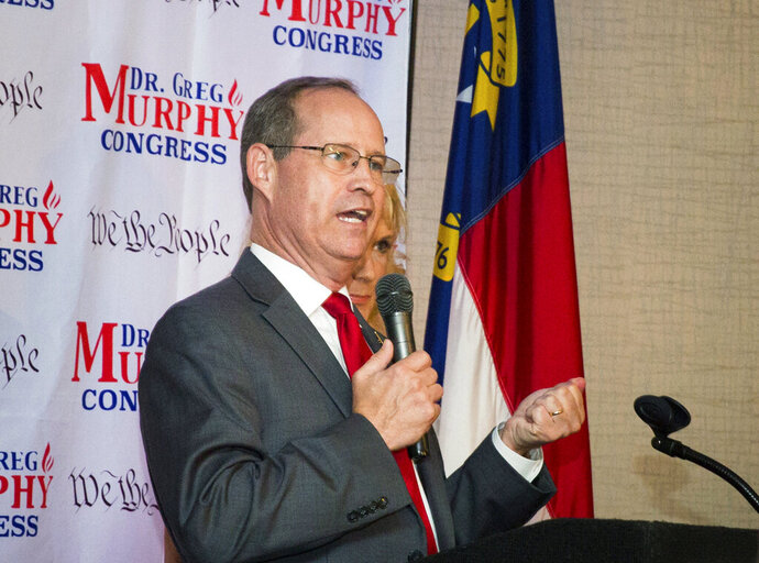 Greg Murphy speaks after he was announced the winner of the Republican nomination in North Carolina's 3rd Congressional District at Greenville Convention Center in Greenville, N.C., Tuesday, July 9, 2019. (Molly Urbina/The Daily Reflector via AP)