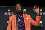 Baltimore Ravens' Lamar Jackson speaks after winning the AP Most Valuable Player award at the NFL Honors football award show Saturday, Feb. 1, 2020, in Miami. (AP Photo/Patrick Semansky)