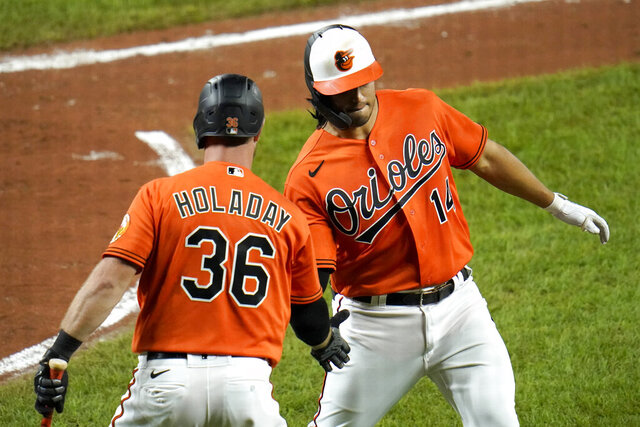 Baltimore Orioles' Rio Ruiz (14) is greeted near the dugout by Bryan Holaday (36) after hitting a solo home run off Washington Nationals starting pitcher Patrick Corbin during the fourth inning of a baseball game, Saturday, Aug. 15, 2020, in Baltimore. (AP Photo/Julio Cortez)