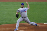 Los Angeles Dodgers starting pitcher Clayton Kershaw (22) throws during the first inning of a baseball game against the Los Angeles Angels Saturday, May 8, 2021, in Anaheim, Calif. (AP Photo/Ashley Landis)