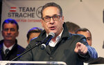 Heinz-Christian Strache, former leader of the right-wing Freedom Party, FPOE, delivers a speech for his party Team Strache at a closing rally ahead the local elections in Vienna, Austria, Wednesday, Oct. 7, 2020. (AP Photo/Ronald Zak)