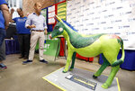 Rep. John Delaney, D-Md., visits the Iowa Democratic Party booth during a visit to the Iowa State Fair, Friday, Aug. 10, 2018, in Des Moines, Iowa. (AP Photo/Charlie Neibergall)