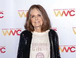 FILE - Gloria Steinem at the 2019 Women's Media Awards in New York in this Oct. 22, 2019 file photo show. Steinem has won the Princess of Asturias Awards' annual prize for communication and humanities. It praised 87-year-old Steinem's long career in journalism, her bestselling books and her dedication to feminism since the 1960s. (Photo by Christopher Smith/Invision/AP, File)