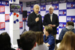 Democratic presidential candidate former Vice President Joe Biden speaks alongside Iowa attorney general Tom Miller during a stop at a campaign field office, Monday, Jan. 13, 2020, in Des Moines, Iowa. (AP Photo/Patrick Semansky)