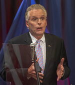 Democratic candidate for Governor of Virginia former Virginia Gov., Terry McAuliffe answers a question during a debate held in Bristol, Va., on Thursday, May 6, 2021. (David Crigger/Bristol Herald Courier via AP)