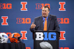 FILE - In this July 22, 2021, file photo, Illinois head coach Bret Bielema speaks during an NCAA college football news conference at the Big Ten Conference media days at Lucas Oil Stadium in Indianapolis. Illinois opens its season Aug. 28 against Nebraska. All eyes will be on new Illinois coach Bielema, who had a successful run at Wisconsin before leaving for a job at Arkansas. Now he is back in the Big Ten. (AP Photo/Doug McSchooler, File)