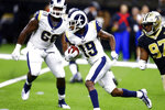 FILE - In this Thursday, Aug. 30, 2018 file photo ,Los Angeles Rams wide receiver JoJo Natson (19) carries the ball during an NFL preseason football game against the New Orleans Saints in New Orleans. The Cleveland Browns reached agreement with kick returner JoJo Natson, who played college ball at nearby Akron, Thursday, March 19, 2020. The 26-year-old Natson spent the past two seasons with the Los Angeles Rams following one year with the New York Jets.(AP Photo/Butch Dill, File)
